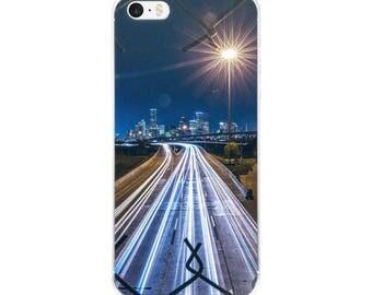 City Never Sleeps iPhone Case Highway Cars City Skyline iPhone Case