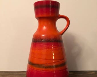 Large Mid Century Modern West German Vase with Handle