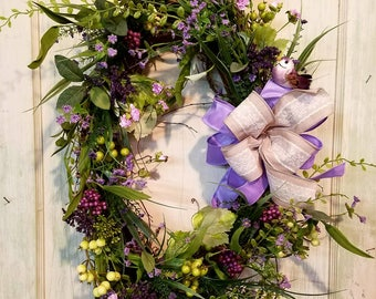 Grapevine wreath, oval wreath,  lavender flower wreath,  wildflower wreath, wreath for front door, country wreath decor, country wreath