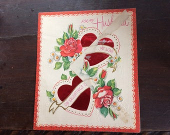 Vintage 1940s WW2 Era Used Anerican Greetng Valentine Card To My Husband