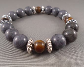 Gray and Brown Tiger Eye Bracelet