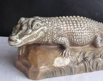 Art Deco signed Stoneware from Sarreguemines FRAMBERG Cabinet of curiosity-CROCODILE