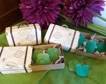 Cute suitcase with three small handmade soaps of Aloe vera, honey, olive oil and lavender or lemon..