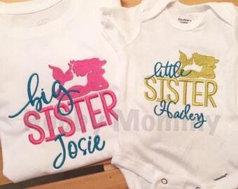 Personalized Big/Little Sister Mermaid Shirt Set