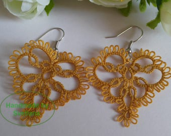 Tatted Lace Earrings in Gold colour Triangle shaped - Larisa