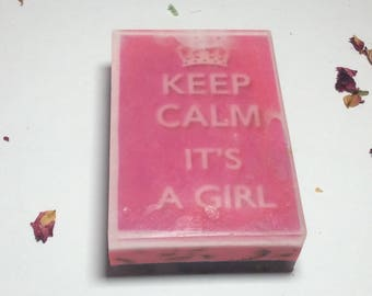handmade organic soap, baby girl baby shower gift,keepCalm It Is a Girl