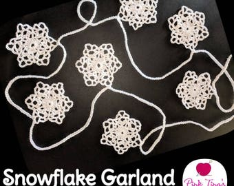 Shimmery Crocheted Snowflake Garland (6.5 ft)