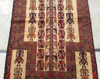 125 x 84 cm cm Vintage Herathi Prayer Wool Rug 10068