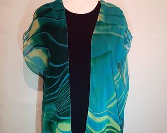 Hand Made Silk Kimono - Green / Blue - Fits up to Size 20 | Kimono Jacket | Kimono Top | Kimono Dress | Kimono Robe | Kimono Cardigan