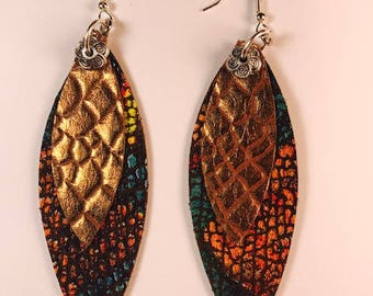 Leather earring, Cow leather, Drop earrings, Statement earrings