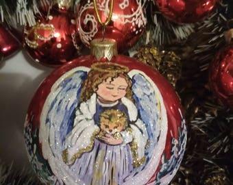 Стеклянные игрушки на елку ручной работы/Hand painted Christmas Glass Balls