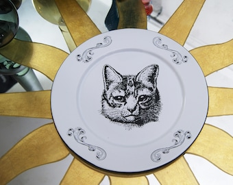 "Enamel Plate Original Art Work Mexican Contemporary  Design ""Retro Cat"""