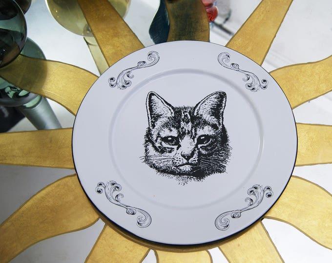 "Featured listing image: Enamel Plate Original Art Work Mexican Contemporary  Design ""Retro Cat"""