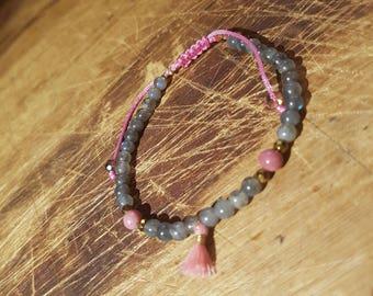Labradorite, rhodochrosite and Golden Hematite bracelet