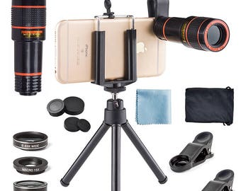 4-in-1 ~ 12x Zoom Telephoto Lens + Fisheye + Wide-Angle + Macro Lens with Phone Holder + Tripod for Most Smart Phones