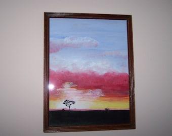 Desert Sunset original acrylic signed painting