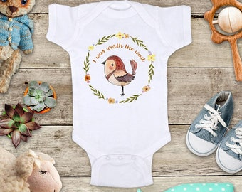 I was Worth the Wait Bird Flower wreath Baby bodysuit - pretty baby shower gift surprise baby birth pregnancy announcement