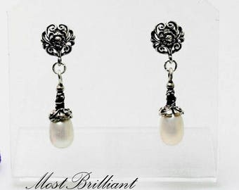 Pearl earrings, cultured freshwater pearls, sterling silver 925