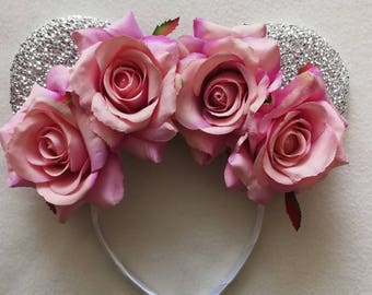 Silver and vintage pink roses floral crown minnie ears.