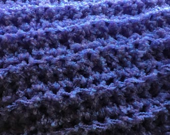 Crochet baby afghan - lavender & blue - Team Paws Chicago