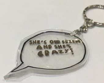 Stranger things quote bag charm key ring key chain