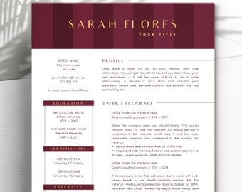 Modern Resume Template Word + Cover Letter • 1 and 2 Page Resume Templates • Creative Resume Template • INSTANT DOWNLOAD CV