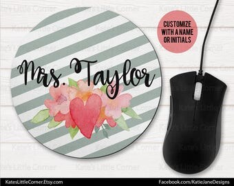 Custom Mouse Pad, Mouse Pad, Monogram Mouse Pad, Mousepad, Personalized, Round Mousepad, Personalized, Monogram Mousepad, Office Gift