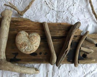 Rustic Handmade Driftwood & Pebble Love Hanging Ornament
