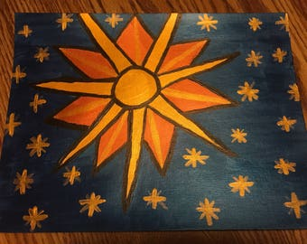 The Sun And The Stars Acrylic Painting