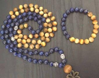 Lapis Lazuli 108 mala and Bracelet