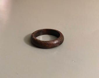 Dark walnut wood band ring