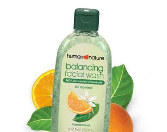 Human Nature Balancing Facial Wash, oil control and CERTIFIED all natural and cruelty-free, biodegradable and non toxic facial wash.