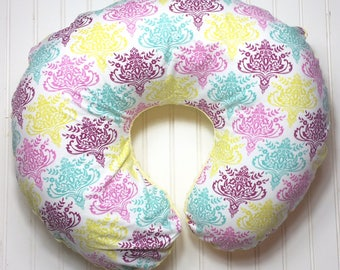 Boppy Pillow Cover | Nursing Pillow Cover | Boppy Cover | Beautiful Damask with Yellow Minky