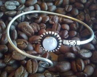 Moonstone spiral brass bracelet