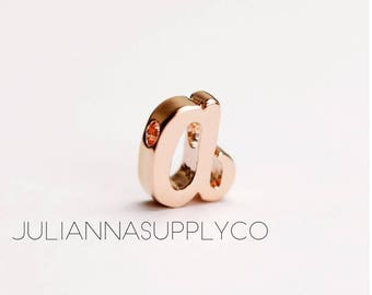 Rose Gold Initial Letters A Charms Cursive