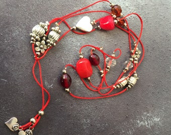 Red Beaded Tie Necklace