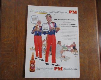 1953 Original Vintage PM Blended Whiskey ad