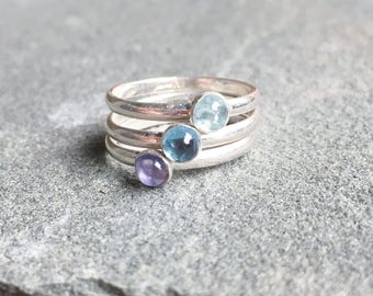 Everly Blue Stacking Rings