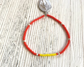 Delicate miyuki beaded bracelet with Medallion-orange yellow