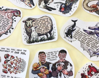 Tom Lee Walker x Kate Louise Powell Vegan Activism Sticker Collab