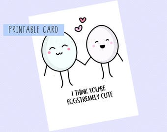 I Think You're Eggstremely Cute | Valentines Card, Anniversary, Funny Card, Puns Card, Puns, Love Card, Pun, Funny, Cute, Valentines Day,