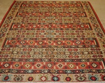 Old Turkish Sarkoy kilim Rug, Traditional Banded Design, Soft Colours, Circa 1920.