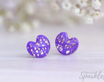 Ultra Violet stud earrings, Lilac Gold heart stud earrings, Trends 2018, Simple Earrings, Purple earrings minimalist, Purple Gift for her