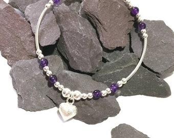 Sterling Silver and Amethyst Heart Charm Bracelet, February Birthstone, Friendship Gift, FREE UK DELIVERY