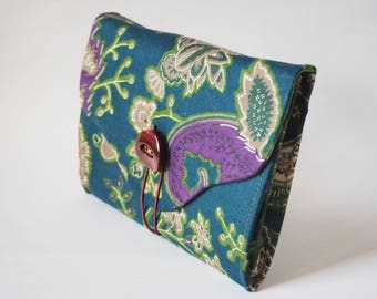 Wallet / companion blue fabric with floral motifs purples and Greens
