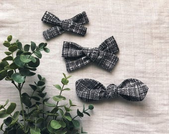 Black and White Crosshatch Clean Classic Hand Tied Bow Bubble Knot Bows Nylon or Clip
