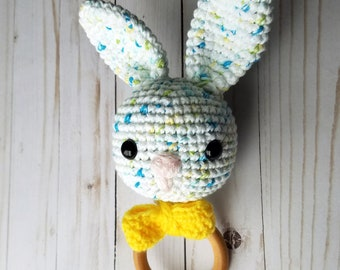 Wooden Teething Ring with Crochet Bunny | Natural Teething Ring | Teether Toy | Easter Bunny Teething Toy