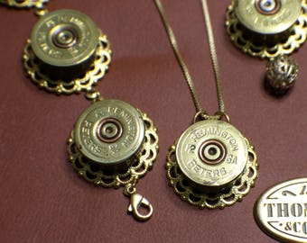 Bullet Casing Necklace Set - Vintage - Recycled - Remington Peters 12 GA - Golden Brass - Necklace Bracelet Earrings