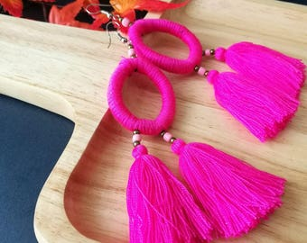 Handcraft Hoop Tribal Ethnic Earrings Statement Dangle Drop Gypsy Boho Chic Pink Tassel Earrings