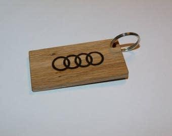 Wooden Audi keychain